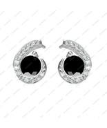 White Gold Plated 925 Silver Ehite & Black CZ Fancy Stud Earrings Gift I... - £12.20 GBP