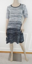 Nwt Maggy London Ombre Flare Sweater Dress Sz S Small Gray Black Stripes... - $59.35