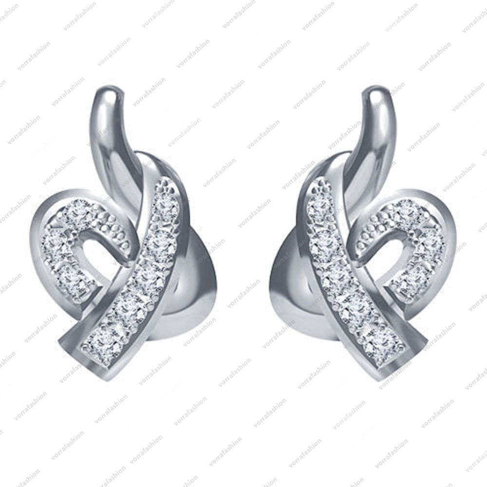 Primary image for 925 Sterling Silver Platinum Plated White CZ Round Cut Elegant Stud Earring