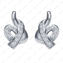 925 Sterling Silver Platinum Plated White CZ Round Cut Elegant Stud Earring - £28.25 GBP