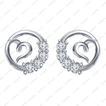 White Platinum Over 925 Silver Round Cut CZ Lovely Heart in Circle Style Earring - £25.45 GBP