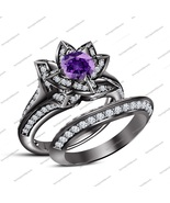 Round Cut Amethyst 14K Black Rhodium Fn.925 Silver Lotus Shape Engagement Ring
