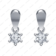 Platinum Plated 925 Sterling Silver White CZ Round Cut Solitaire Earrings - £12.08 GBP