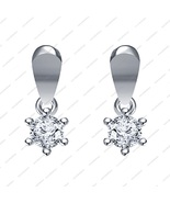 Platinum Plated 925 Sterling Silver White CZ Round Cut Solitaire Earrings - £11.90 GBP
