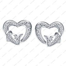 Platinum Plated in 925 Sterling Silver Round Cut White CZ Lovely Heart Earring - £12.08 GBP
