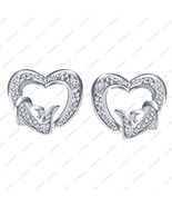 Platinum Plated in 925 Sterling Silver Round Cut White CZ Lovely Heart E... - £12.75 GBP