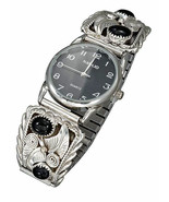 STERLING SILVER MENS SOUTHWEST WATCH WITH ONYX NUGGETS - $199.00
