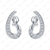 White Platinum Plated 925 Sterling Silver CZ Beautiful Fancy Style Earring - £26.18 GBP