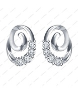 White Platinum Plated 925 Sterling Silver Round cut CZ Lovely Swirl stud... - £11.90 GBP