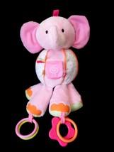 Carters Elephant Plush Rattle Teether  Crinkle Cuddle & Play Pal Toy stu... - $17.01