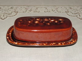Vintage Brown Glaze Brown Drip Butter Dish-Unmarked - $14.00