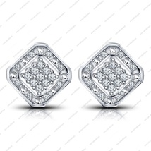 925 Sterling Silver Round Cut White CZ Cushion Shape Stud Earrings For Women's - £30.80 GBP