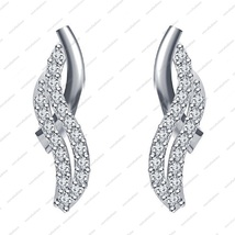 Platinum Plated 925 sterling silver Round cut white CZ Beautiful Fancy Earrings - £27.00 GBP