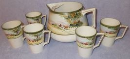 Antique Nippon Japan Te-Oh Hand Painted Pitcher and Five Cups Lemonade Set - $90.00