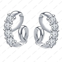 Platinum Plated in 925 Sterling Silver Round cut White CZ Lovely stud Earring - $32.99