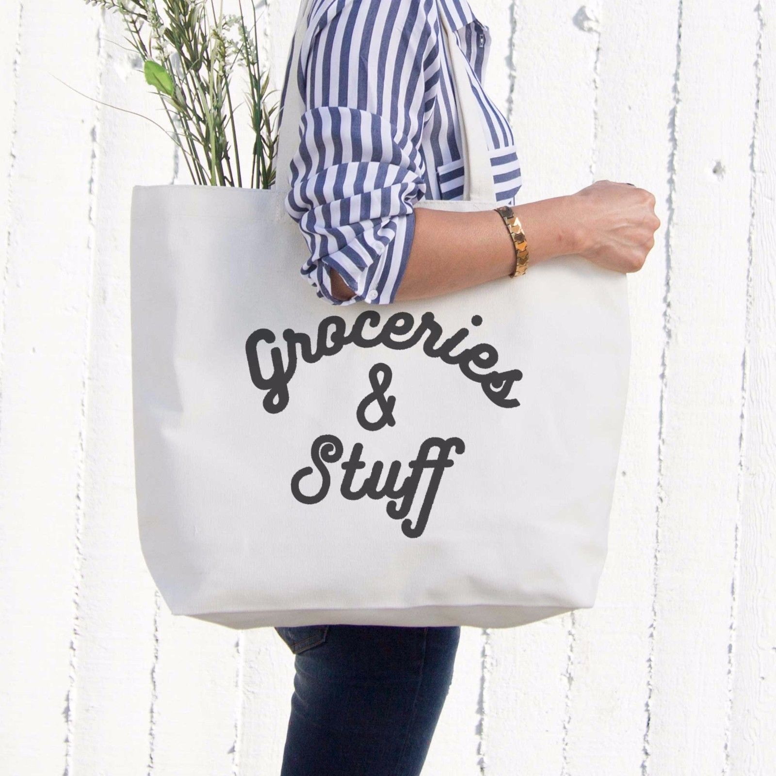 Grocery And Stuff Canvas Bag Christmas Or Mother's Day Gifts Ideas Grocery Bag