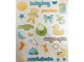 White Blossom Baby-Themed Epoxy Dimensional Sticker Set #9563