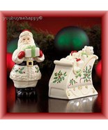 Lenox  Christmas Holiday™  Santa and Sleigh Salt and Pepper Set  New in Box - $44.55