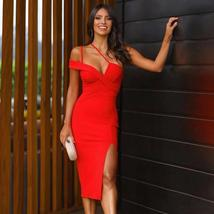 New Summer One Shoulder Sexy Red Sleeveless Bandage Bodycon Party Dress image 2