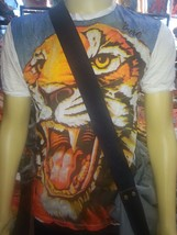 Jungle King Men Shirt short sleeve cotton Tiger Animal India Thailand Om M Sure - $12.86