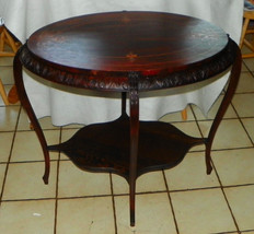 Oval Mahogany Carved Mother of Pearl Inlaid Center Table / Parlor Table  (T551) - $599.00