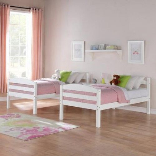 Kids Bunk Bed White Twin Convertible Bedroom Furniture Ladder Wood Bunkbeds B
