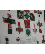 Vintage Christmas Blocks Fabric Sewing Panel Boxes Ornaments - $9.95