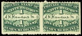 RS87d, Imperf Pair Rush's Medicine Stamps MAJOR PLATE SCRATCH - Stuart Katz - $40.00