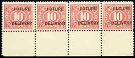 RC4, Mint NH 10¢ Strip of Four Future Delivery Stamps Cat $96.00 - Stuar... - $45.00