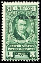RD353, Mint NH $5 Stock Transfer Revenue Stamp Cat $75.00 - Stuart Katz - $35.00