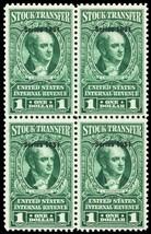 RD349, Mint NH $1 Block of 4 Stock Transfer Stamps Cat $130.00 - Stuart ... - $65.00