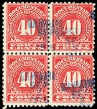 R214, Used 40¢ Block of 4 Documentary Stamps Cat $65.00 - Stuart Katz - $30.00