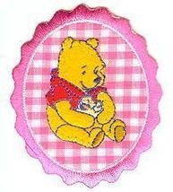 Pooh Hugs Duckling Pink Plaid Sew On applique - $1.50