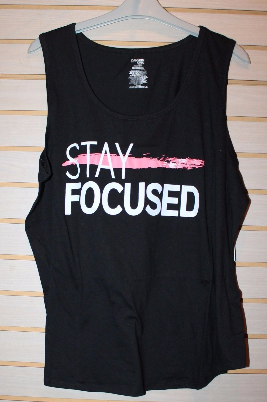 e0a00349bd8 S l1600. S l1600. Previous. NEW WOMENS PLUS SIZE 4X BLACK STAY FOCUSED MOTIVATIONAL  EXERCISE TANK TOP SHIRT