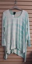 New Womens Plus Size 3 X Aqua Tie Tye Dye Hankey Hem Soft Jersey Tunic Shirt Top - $19.34