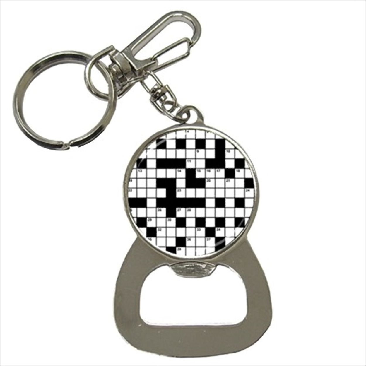 Crossword Puzzles Bottle Opener Keychain and Beer Drink Coaster Set