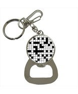 Crossword Puzzles Bottle Opener Keychain and Beer Drink Coaster Set - $10.21 CAD+