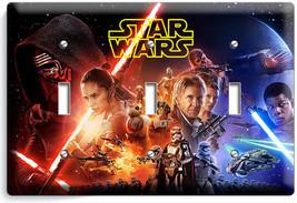 STAR WARS FORCE AWAKENS JEDI LEIA TRIPLE LIGHT SWITCH WALL PLATE NY ROOM... - $16.19
