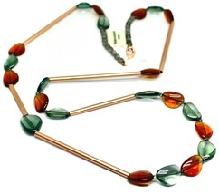 "ROSE NECKLACE AMBER GREEN ROUNDED DROPS OF MURANO GLASS TUBE ALTERNATE 40"" LONG image 2"