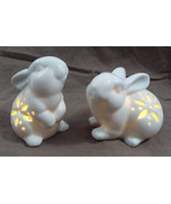 "2 Piece LED Lit White Bunny Night Light Figurine 3 1/2""  Cut Out Sides - $20.46"