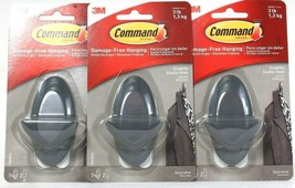 3 Count Command Damage Free Hanging Holds 3 Lb Decorative Graphite Doubl... - $18.99