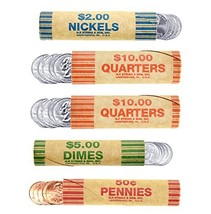 250 Coin Wrappers Made In USA - Preformed Paper Tubes - Assorted Sizes -... - $20.79