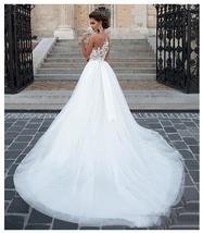 Lace Appliques Beach Bridal Gown Princess Wedding Dresses White/Lvory Buttons image 2