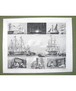 GUNSHIPS on Parade Firing Salut Night SIgnals - 1844 Original Steel Engr... - $24.70