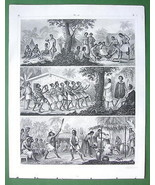 PACIFIC ISLANDS Natives New Zealand Phlippines - 1844 SUPERB Engraving P... - $17.82