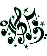 Music notes outdoor decal sticker decorative stars comes ready to apply - £6.69 GBP