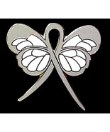 Asthma Pin Gray Awareness Ribbon Butterfly Supp... - $10.97