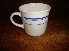 Vtg Corning Blue Stripe Coffee Mug  Microwave OK - $7.69