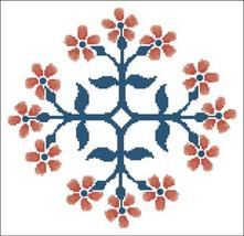 Floral Ornamental 094 Orange Blooms cross stitch chart Pinoy Stitch - $9.90