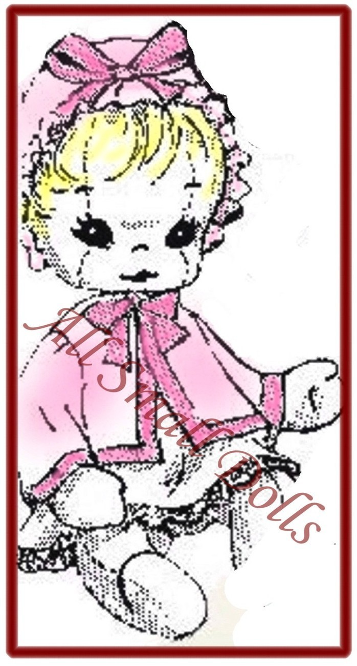 "Vintage Cloth Doll Pattern for 15"" Baby Doll wi/Layette ~ no"